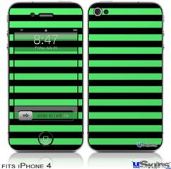 iPhone 4 Decal Style Vinyl Skin - Stripes Green (DOES NOT fit newer iPhone 4S)