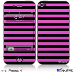 iPhone 4 Decal Style Vinyl Skin - Stripes Pink (DOES NOT fit newer iPhone 4S)