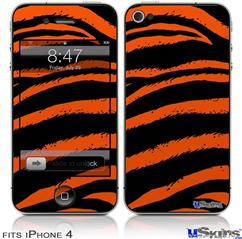 iPhone 4 Decal Style Vinyl Skin - Zebra Orange (DOES NOT fit newer iPhone 4S)