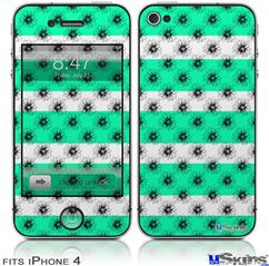 iPhone 4 Decal Style Vinyl Skin - Kearas Daisies Stripe Sea Foam (DOES NOT fit newer iPhone 4S)