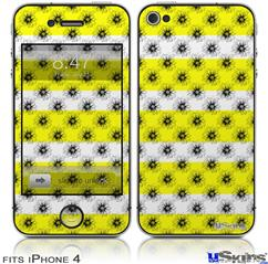 iPhone 4 Decal Style Vinyl Skin - Kearas Daisies Stripe Yellow (DOES NOT fit newer iPhone 4S)