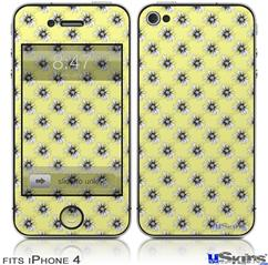 iPhone 4 Decal Style Vinyl Skin - Kearas Daisies Yellow (DOES NOT fit newer iPhone 4S)