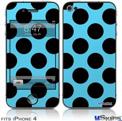 iPhone 4 Decal Style Vinyl Skin - Kearas Polka Dots Black And Blue (DOES NOT fit newer iPhone 4S)