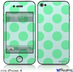 iPhone 4 Decal Style Vinyl Skin - Kearas Polka Dots Green On Green (DOES NOT fit newer iPhone 4S)
