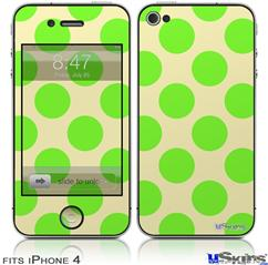 iPhone 4 Decal Style Vinyl Skin - Kearas Polka Dots Lime On Cream (DOES NOT fit newer iPhone 4S)