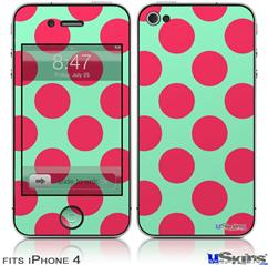 iPhone 4 Decal Style Vinyl Skin - Kearas Polka Dots Pink And Blue (DOES NOT fit newer iPhone 4S)