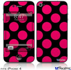 iPhone 4 Decal Style Vinyl Skin - Kearas Polka Dots Pink On Black (DOES NOT fit newer iPhone 4S)