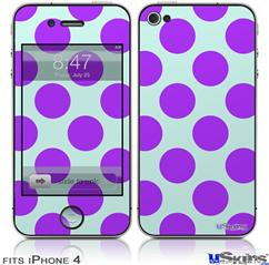 iPhone 4 Decal Style Vinyl Skin - Kearas Polka Dots Purple And Blue (DOES NOT fit newer iPhone 4S)