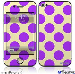 iPhone 4 Decal Style Vinyl Skin - Kearas Polka Dots Purple On Cream (DOES NOT fit newer iPhone 4S)
