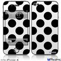 iPhone 4 Decal Style Vinyl Skin - Kearas Polka Dots White And Black (DOES NOT fit newer iPhone 4S)