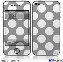 iPhone 4 Decal Style Vinyl Skin - Kearas Polka Dots Whtie On Gray (DOES NOT fit newer iPhone 4S)