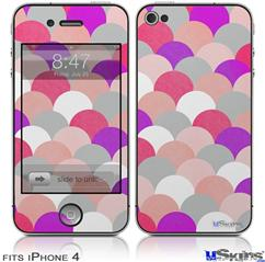 iPhone 4 Decal Style Vinyl Skin - Brushed Circles Pink (DOES NOT fit newer iPhone 4S)