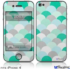 iPhone 4 Decal Style Vinyl Skin - Brushed Circles Seafoam (DOES NOT fit newer iPhone 4S)