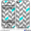 iPhone 4 Decal Style Vinyl Skin - Chevrons Gray And Aqua (DOES NOT fit newer iPhone 4S)