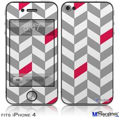 iPhone 4 Decal Style Vinyl Skin - Chevrons Gray And Raspberry (DOES NOT fit newer iPhone 4S)