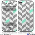 iPhone 4 Decal Style Vinyl Skin - Chevrons Gray And Seafoam (DOES NOT fit newer iPhone 4S)