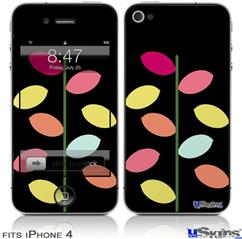 iPhone 4 Decal Style Vinyl Skin - Plain Leaves On Black (DOES NOT fit newer iPhone 4S)