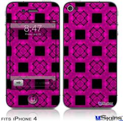 iPhone 4 Decal Style Vinyl Skin - Criss Cross Pink (DOES NOT fit newer iPhone 4S)