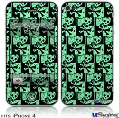 iPhone 4 Decal Style Vinyl Skin - Skull Checker Green (DOES NOT fit newer iPhone 4S)