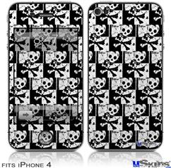 iPhone 4 Decal Style Vinyl Skin - Skull Checker (DOES NOT fit newer iPhone 4S)