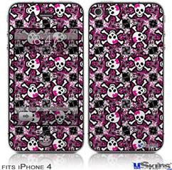 iPhone 4 Decal Style Vinyl Skin - Splatter Girly Skull Pink (DOES NOT fit newer iPhone 4S)