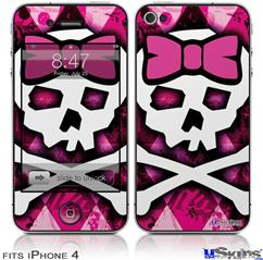 iPhone 4 Decal Style Vinyl Skin - Pink Bow Princess (DOES NOT fit newer iPhone 4S)