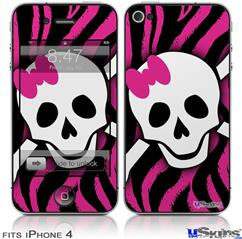 iPhone 4 Decal Style Vinyl Skin - Pink Zebra Skull (DOES NOT fit newer iPhone 4S)