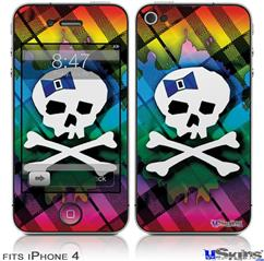 iPhone 4 Decal Style Vinyl Skin - Rainbow Plaid Skull (DOES NOT fit newer iPhone 4S)