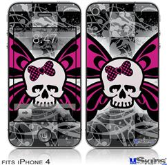 iPhone 4 Decal Style Vinyl Skin - Skull Butterfly (DOES NOT fit newer iPhone 4S)