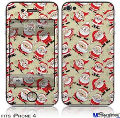 iPhone 4 Decal Style Vinyl Skin - Lots of Santas (DOES NOT fit newer iPhone 4S)