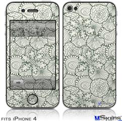 iPhone 4 Decal Style Vinyl Skin - Flowers Pattern 05 (DOES NOT fit newer iPhone 4S)