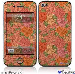 iPhone 4 Decal Style Vinyl Skin - Flowers Pattern Roses 06 (DOES NOT fit newer iPhone 4S)