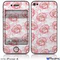 iPhone 4 Decal Style Vinyl Skin - Flowers Pattern Roses 13 (DOES NOT fit newer iPhone 4S)