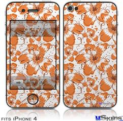 iPhone 4 Decal Style Vinyl Skin - Flowers Pattern 14 (DOES NOT fit newer iPhone 4S)