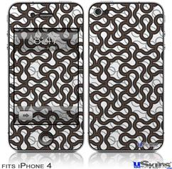 iPhone 4 Decal Style Vinyl Skin - Locknodes 01 Chocolate Brown (DOES NOT fit newer iPhone 4S)