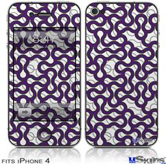 iPhone 4 Decal Style Vinyl Skin - Locknodes 01 Purple (DOES NOT fit newer iPhone 4S)