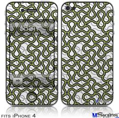 iPhone 4 Decal Style Vinyl Skin - Locknodes 01 Sage Green (DOES NOT fit newer iPhone 4S)