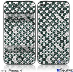 iPhone 4 Decal Style Vinyl Skin - Locknodes 01 Seafoam Green (DOES NOT fit newer iPhone 4S)