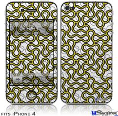 iPhone 4 Decal Style Vinyl Skin - Locknodes 01 Yellow (DOES NOT fit newer iPhone 4S)
