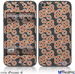 iPhone 4 Decal Style Vinyl Skin - Locknodes 02 Burnt Orange (DOES NOT fit newer iPhone 4S)