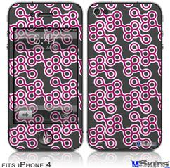 iPhone 4 Decal Style Vinyl Skin - Locknodes 02 Hot Pink (Fuchsia) (DOES NOT fit newer iPhone 4S)