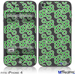 iPhone 4 Decal Style Vinyl Skin - Locknodes 02 Green (DOES NOT fit newer iPhone 4S)