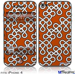 iPhone 4 Decal Style Vinyl Skin - Locknodes 03 Burnt Orange (DOES NOT fit newer iPhone 4S)