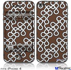 iPhone 4 Decal Style Vinyl Skin - Locknodes 03 Chocolate Brown (DOES NOT fit newer iPhone 4S)