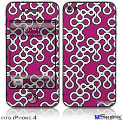 iPhone 4 Decal Style Vinyl Skin - Locknodes 03 Hot Pink (Fuchsia) (DOES NOT fit newer iPhone 4S)