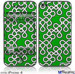 iPhone 4 Decal Style Vinyl Skin - Locknodes 03 Green (DOES NOT fit newer iPhone 4S)