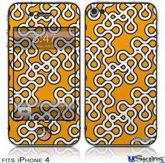 iPhone 4 Decal Style Vinyl Skin - Locknodes 03 Orange (DOES NOT fit newer iPhone 4S)