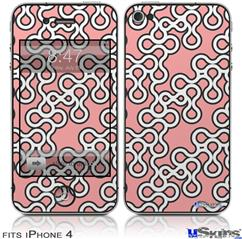 iPhone 4 Decal Style Vinyl Skin - Locknodes 03 Pink (DOES NOT fit newer iPhone 4S)