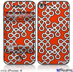 iPhone 4 Decal Style Vinyl Skin - Locknodes 03 Red (DOES NOT fit newer iPhone 4S)
