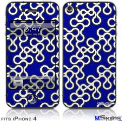 iPhone 4 Decal Style Vinyl Skin - Locknodes 03 Royal Blue (DOES NOT fit newer iPhone 4S)